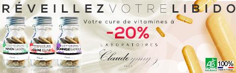 Laboratoires Claude, la cure de vitamines qui r�veillera votre libido ! -20% sur toute la gamme d'aphodisiaques bio des Laboratoires Claude !