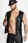 Gilet à pressions en wetlook mat et vinyle, un classique masculin intemporel servi dans un style moderne et sexy.