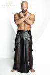 Jupe longue pour homme style Samouraï en wetlook mat et tulle noir.