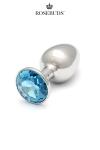 Le plus connu des rosebuds dans sa taille classique, avec un bijou en cristal Swarovski  coloris  aquamarine .