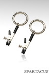 Pinces � seins Bully Ring : Paire de pinces � seins ajustables, finies par un anneau solide pr�t � recevoir vos attaches.