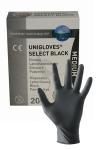 Un pack de 10 paire de gants chirurgicaux en latex noir.