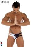Jock-Strap lycra bicolore, l'esprit yin et yang dans une lingerie réservée aux hommes.