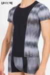 Tee shirt bicolore en lycra, assorti à la gamme de lingerie masculine Shade de Look Me.