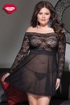 Robe lingerie Beauty - Grande taille - Robe courte lingerie absolument transparente, un hommage � vos rondeurs tellement sensuelles.