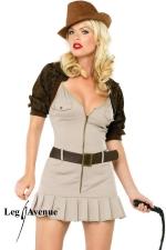 Costume aventuri�re Miss Indy - Costume d'aventuri�re comprenant la robe, le bol�ro, la ceinture et le fouet.