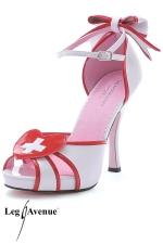 Sandales Infirmi�re Jackie : Sandales blanches en vinyle style infirmi�re, un fantasme glamour jusqu'au bout des pieds... mont� sur des talons de 12 cm.