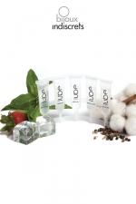 LUBE essentials - Mini coffret de 5 dosettes de lubrifiants pour varier les plaisirs : chauffant, rafraichissant, silicone, nature, fraise.
