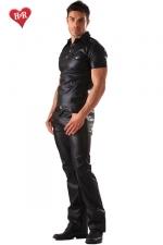 Jeans faux cuir Classic Cut - Jeans aspect faux cuir et coupe classique, un indispensable pour une allure � la fois d�contract�e et sophistiqu�e.