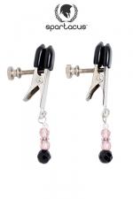 Pinces � seins Pink Beaded - Des pendentifs de perles roses au bout de pinces � t�tons alligator ajustables, des bijoux qui feront palpiter vos seins.