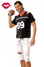 Costume Footballeur Am�ricain 69 - Vous serez trop sexy dans ce costume moulant de footballeur am�ricain, qui porte le num�ro de votre position pr�f�r�e : 69 !