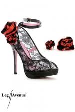 Escarpins Flora : Escarpins � bride de 12,5 cm, en dentelle et vinyle, avec deux paires de roses interchangeables � assortir suivant votre tenue. 3 paires en une !