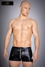 Short zipp� Nolan : Short zipp� en lycra wetlook, une seconde peau noir brillant qui vous met en valeur.
