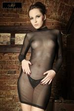 Robe tulle Lucie - Robe moulante � manches longues et col montant en tulle transparent, un must sexy et provocant.