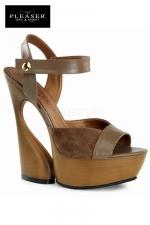 Sandales compens�es Swan : Sandales compens�es au look nature 70's en cuir et su�dine, talons de 15 cm.