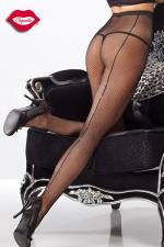 Collant r�sille couture et strass - Collants en r�sille avec une couture arri�re �clair�e de strass qui remonte le long des jambes.