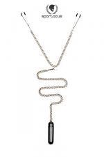 Parure BDSM Tweezer Clamps + bullet vibrant : Une chainette BDSM avec pinces t�tons et vibro bullet pour un m�lange piquant de sensations.