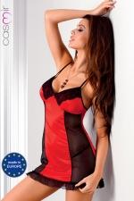 Robe lingerie Rio - Robe sexy fantaisie en satin extensible d'un rouge �clatant d�cor� de dentelle, avec de fines bretelles crois�es qui offrent un magnifique effet d�collet� dans le dos.