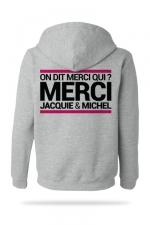 Sweat-shirt Capuche J&M gris - A la demande g�n�rale, voici le sweat � capuche J&M pour compl�ter votre tenue de fan (mod�le gris clair).