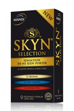 Pr�servatifs MANIX Skyn s�lection x9 - S�lection de pr�servatifs Manix SKYN� dans un seul coffret avec: 3 ORIGINAL, 3 EXTRA LUBRIFIES, 3 INTENSE FEEL.