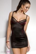 Nuisette Diona - Robe nuisette moulante noire, �clair�e d'empi�cements rouge sombre recouverts de dentelle. Une f�minit� simplement raffin�e.