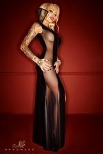 Robe Bad Carmilla - Une robe longue d'h�tesse de charme, sophistiqu�e et sensuelle avec ses pans de tulle et de wetlook, et son col haut imp�rial.