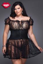 Nuisette Fancy - grande taille - Nuisette romantique en dentelle avec une large ceinture corset Queen size, elle sublime la sensualit� des rondes.