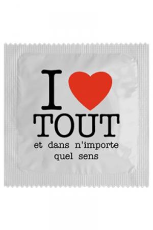 Préservatif humour - I Love Tout - Préservatif  I Love Tout , un préservatif personnalisé humoristique de qualité, fabriqué en France, marque Callvin.