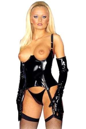 Guépière seins-nus en vinyle.