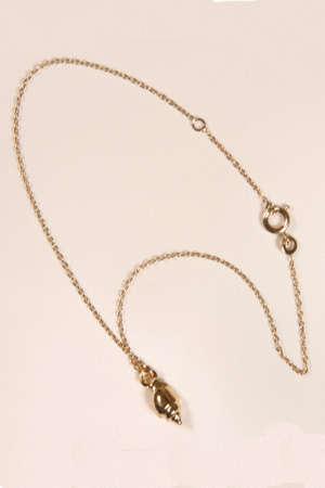 Le coquillage de cheville plaqué or, à porter ajusté ou en pendentif.