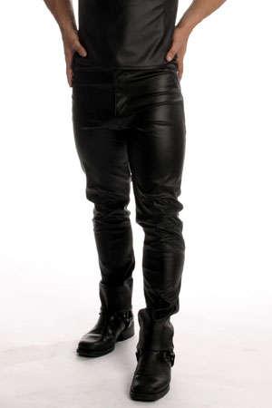 Jean coupe droite style 501, faux cuir.