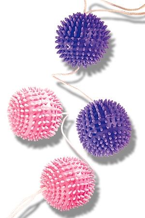 Des boules de Geisha à picots tendres à glisser dans votre sexe pour de longs moments de sensations.