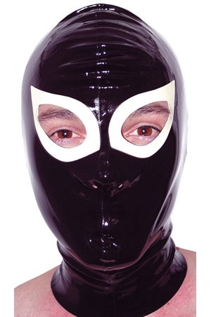 Cagoule en latex haute qualité. Orifices pour les yeux et les narines.