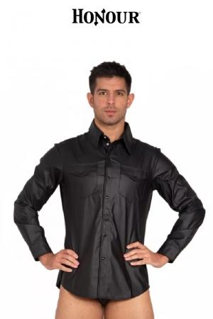 Chemise à poches faux cuir.