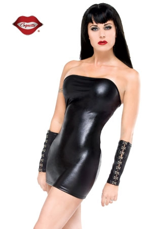 Mini robe tube en lycra wet look.