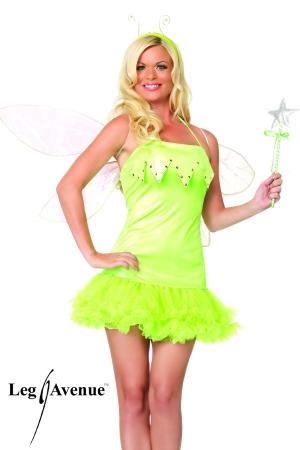 Costume d'Elfe : robe à jupon, baguette magique et serre-tête.