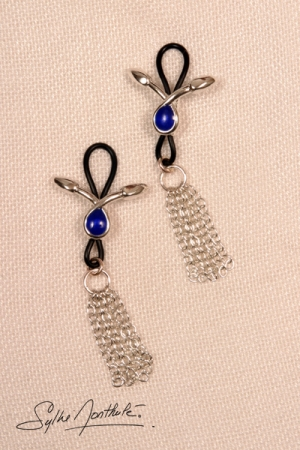 Bijoux de seins Serpents larmes bleues - argent