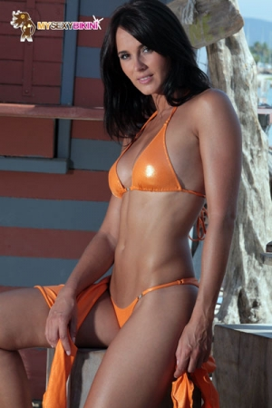 Maillot Brazil m�tallis� : Maillot bikini slip V en lycra m�tallis�, d�cor� de bijoux en v�ritable cristal Swarowski.