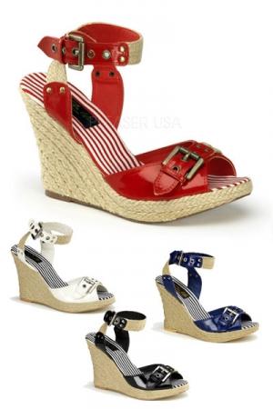 Nus-pieds en corde et vinyle, l'esprit Pin-Up pour un total look glamour.