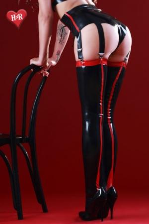 Bas latex Siren - Bas noirs en latex haute qualit�, soulign�s de rouge au dos de la jambe et sur la jarreti�re comme un effet couture.