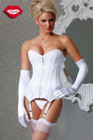 Corset en satin blanc recouvert d'un voile de dentelle, icône de féminité pour une parure virginale.