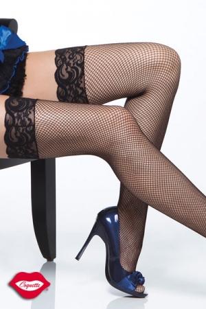 Bas r�sille Nice - Bas r�sille � jarreti�re en dentelle, gainez vos jambes d'un quadrillage tr�s glamour.