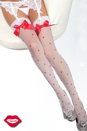 Bas sexy d'Amoureuse, parsemé de petits coeurs tendres et décorés d'un noeud satin sur la jarretière de dentelle.