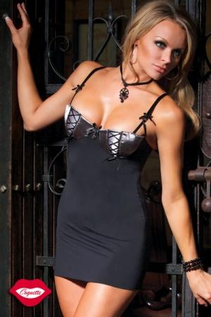 Robe sexy, ou nuisette ? Ce petit fourreau de lycra au bustier pigeonnant vous offre toutes les possibilités.