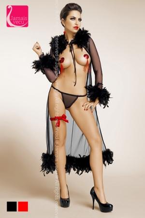 D�shabill� Rita : D�shabill� peignoir sensuel en fine r�sille bord� de plumes soyeuses, une lingerie �rotique d'alc�ve pour femme fatale.