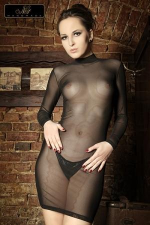 Robe tulle Lucie : Robe moulante � manches longues et col montant en tulle transparent, un must sexy et provocant.