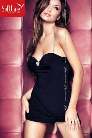 Robe Elly - La petite robe noire de soir�e version courte, rehauss�e de bretelles argent et d'un motif coeur au creux du d�collet�.