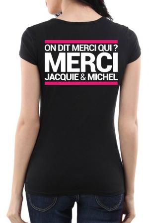 Tee-shirt  J&M noir - sp�cial  femme - JM pensent aussi (et surtout) aux femmes avec un tee-shirt sp�cifique mettant mieux en valeur leurs charmes.