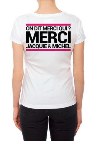 Tee-shirt  J&M blanc - sp�cial  femme : JM pensent aussi (et surtout) aux femmes avec un tee-shirt sp�cifique mettant mieux en valeur leurs charmes.