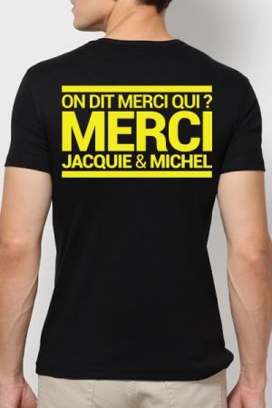 T-shirt Jacquie & Michel Jaune fluo - A la demande g�n�rale, le t-shirt J&M jaune Fluo pour faire la f�te et briller jusqu'au bout de la nuit.